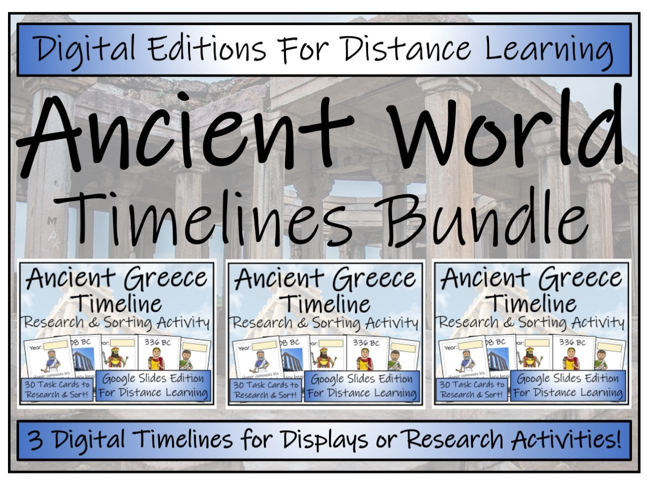 Ancient World Digital Timeline Display, Research and Sorting Activity Bundle