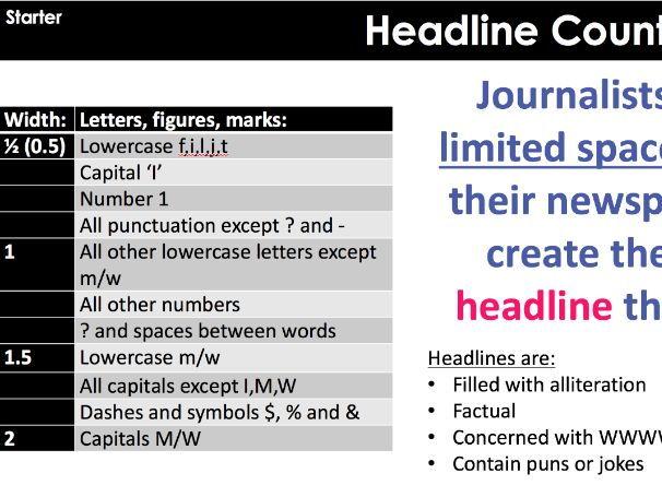 Newspapers: Calculating headline count KS3