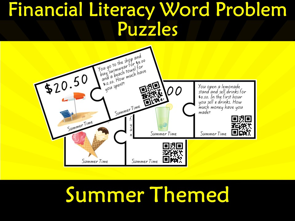 Financial Money Literacy Word Problem Puzzles (Dollars) QR Code