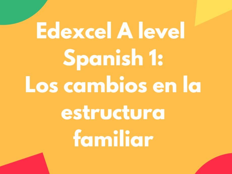 Edexcel A Level Spanish 1: Los cambios en la estructura familiar