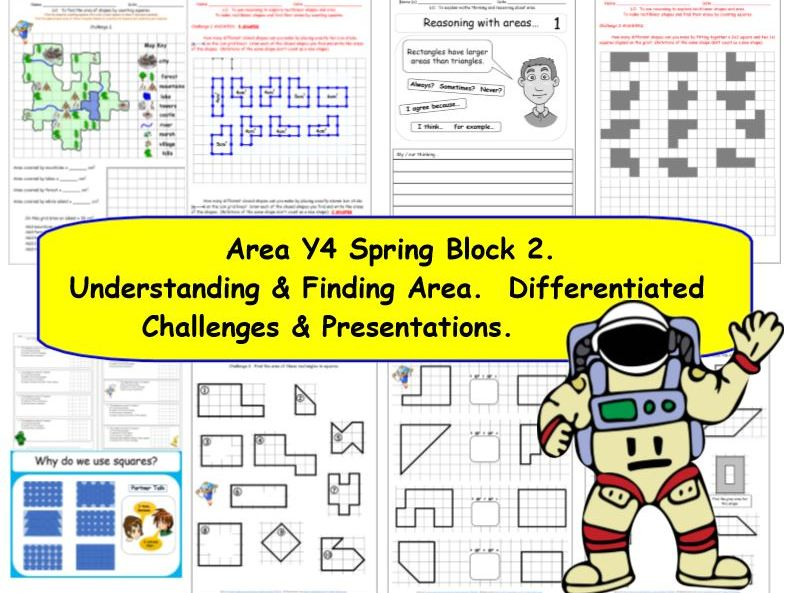 Area Y4 Spring Block 2 KS2 Challenges & Presentations for White Rose Small Steps