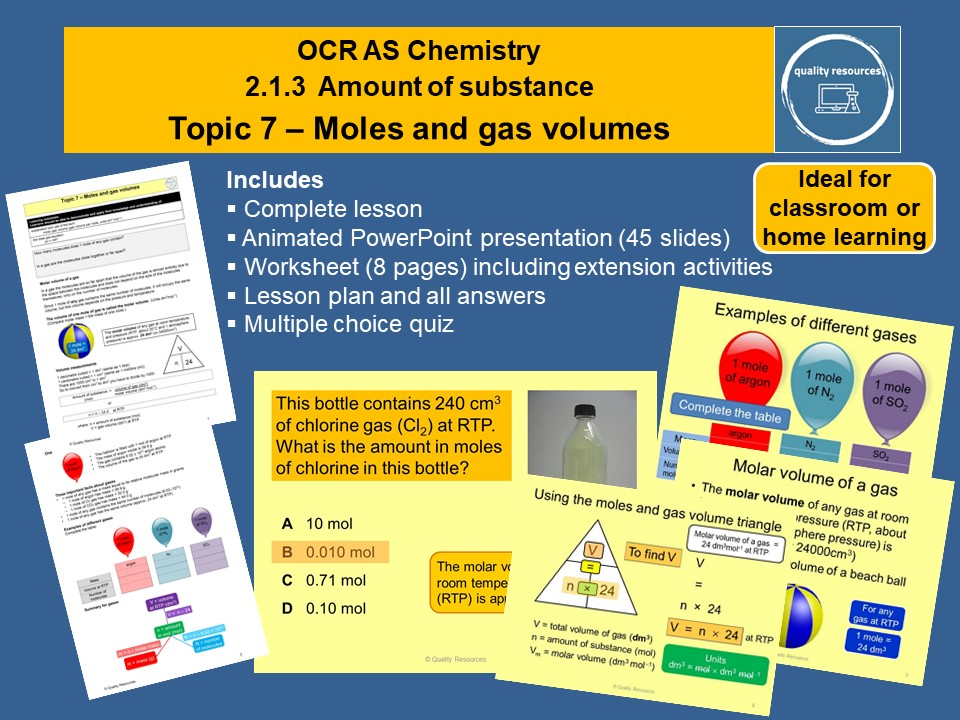 Moles and gas volumes OCR AS Chemistry