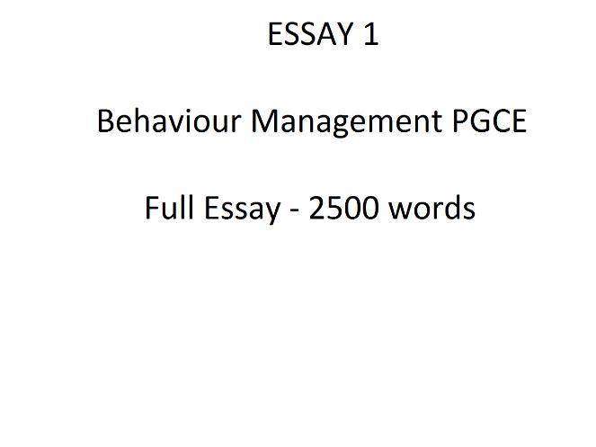 Behaviour management essay - PGCE Essay 1