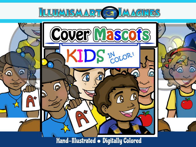 FREE Cover Mascots: Kids in Color! (4 Kids-Color Only!) ClipArt