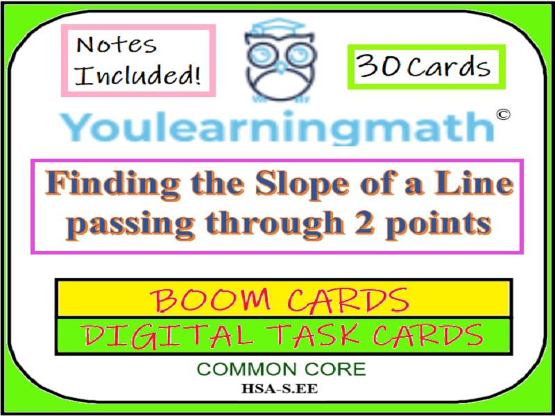 Finding Slope of a Line from 2 Points: DIGITAL BOOM Cards (+ 24 Printable Task Cards)