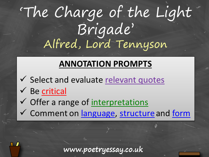 Alfred Tennyson – 'The Charge of the Light Brigade' – Annotation / Planning Table / Questions / Book