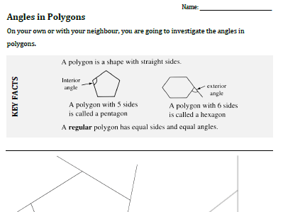 Angles in Polygons guided Investigation