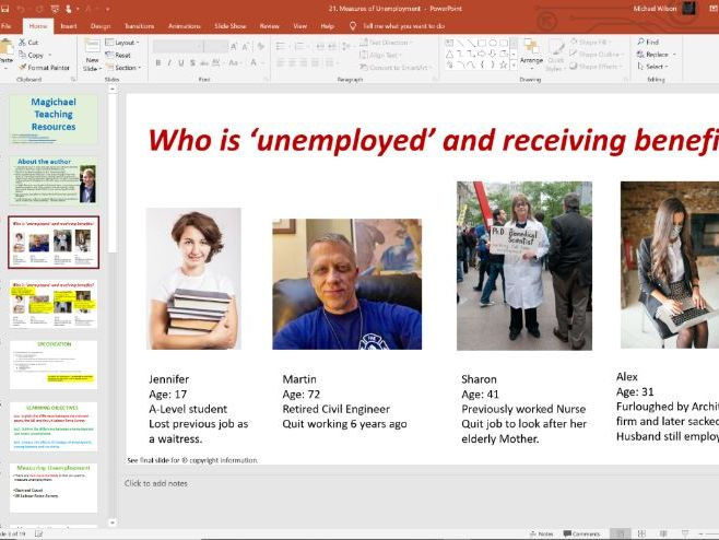 21. Measurement of Unemployment (Slides, Activities) - Edexcel A-Level Economics - Theme 2
