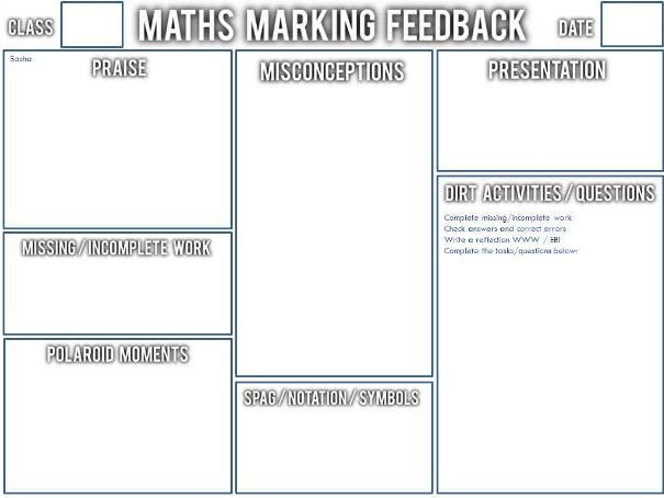 "Whole Class Feedback ""Crib Sheet"" for Maths"