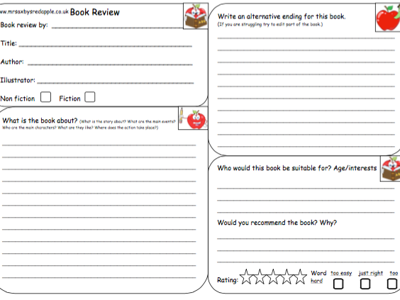 Book Cover Template Tes : Ks ha book review by dalesaxby teaching resources tes