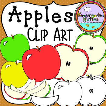 Apples Clipart ~ Whole, Slices & Halves! 12 Color & Black Line Images Included!