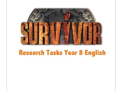 Survivor Research Tasks Year 7 or 8 English