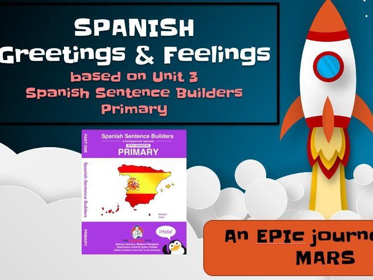 Spanish Greetings and Feelings Primary Sentence Builders