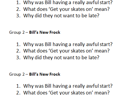 Bill's New Frock - Comprehension Sessions x5