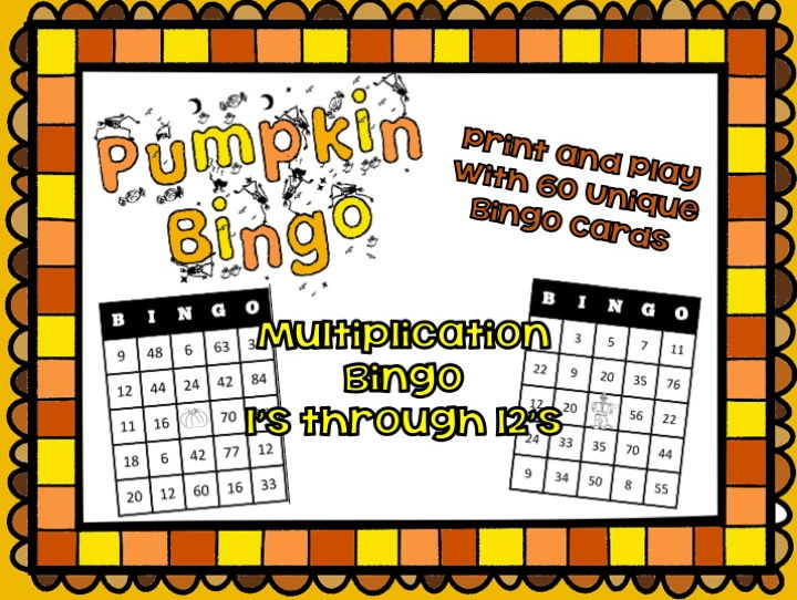 Pumpkin Bingo - Multiplication Math Fact Fun 1's through 12s - Game