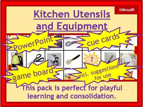 Food Technology Activity Pack: Utensils and equipment - board game, game cards, PPoint, word list