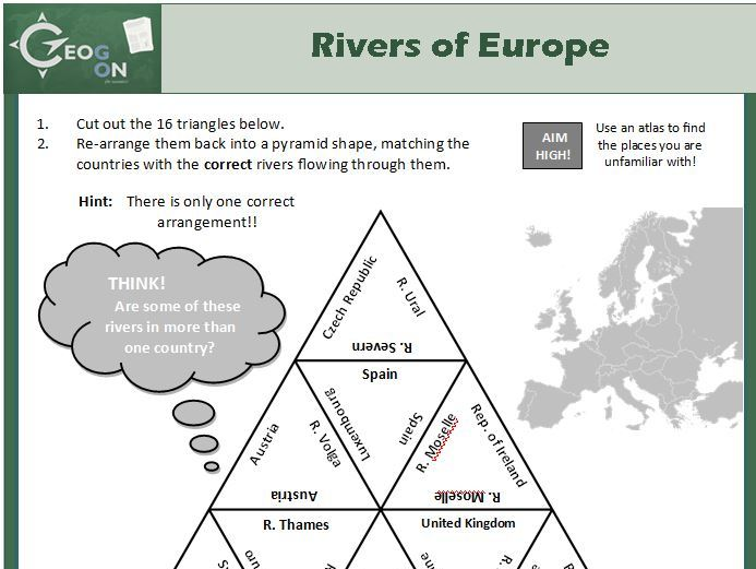 Rivers of Europe Triangle Puzzle