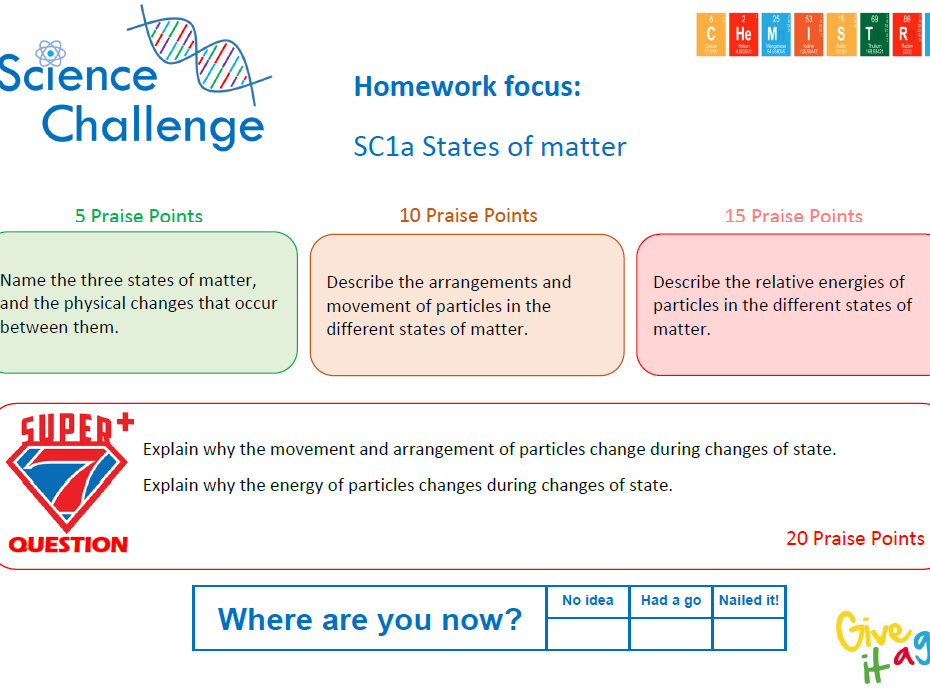 9-1 Science Challenging Homework Tasks