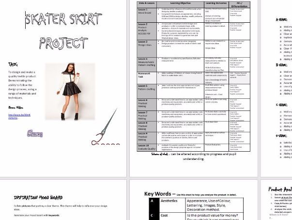 Complete Scheme of Work - Student Workbook - Whole Term Project - SKATER/CIRCLE  SKIRT Project