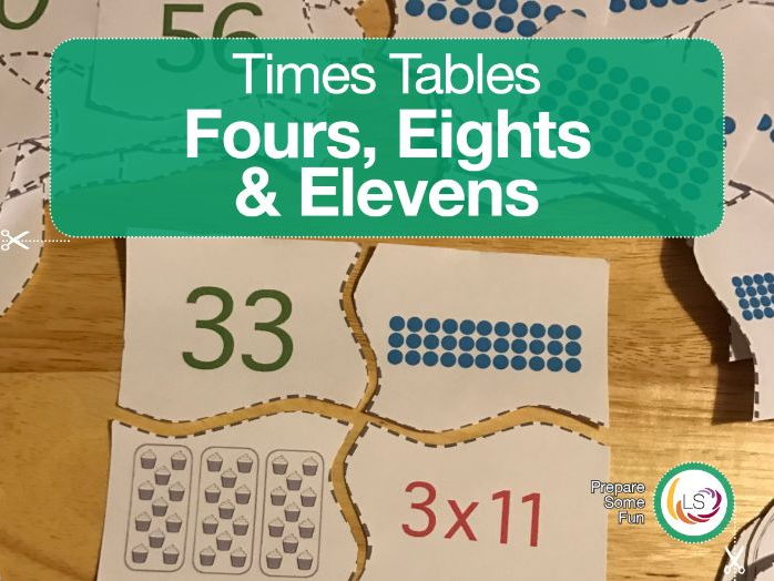 Times Tables Matching Puzzle FOUR'S, EIGHT'S & ELEVEN'S