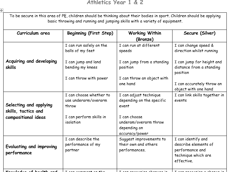 In Lesson Assessment Sheets for Primary PE