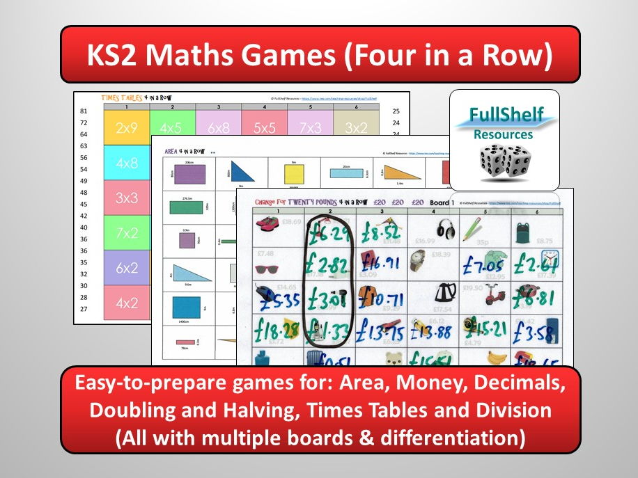 Maths Games KS2 BUNDLE (Four in a Row)