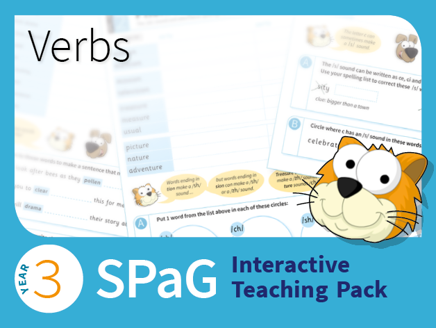 Year 3 SPaG Interactive Teaching Pack - Verbs