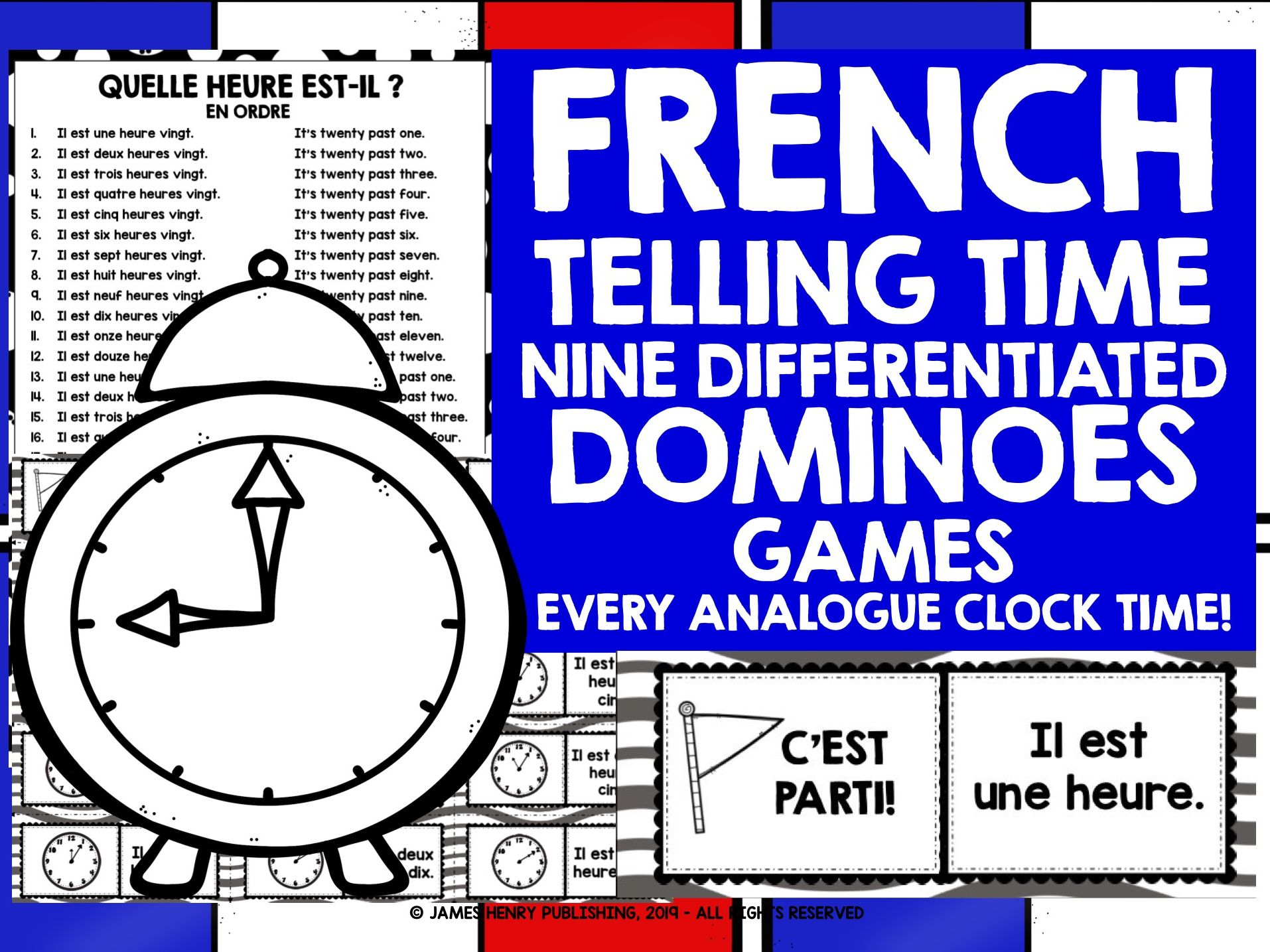 FRENCH TELLING TIME DOMINOES