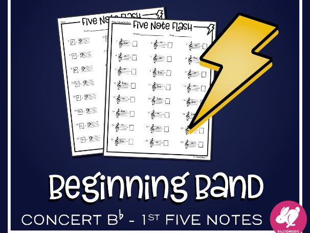 First 5 Band Notes: Speed Note Naming: Five Note Flash Worksheets