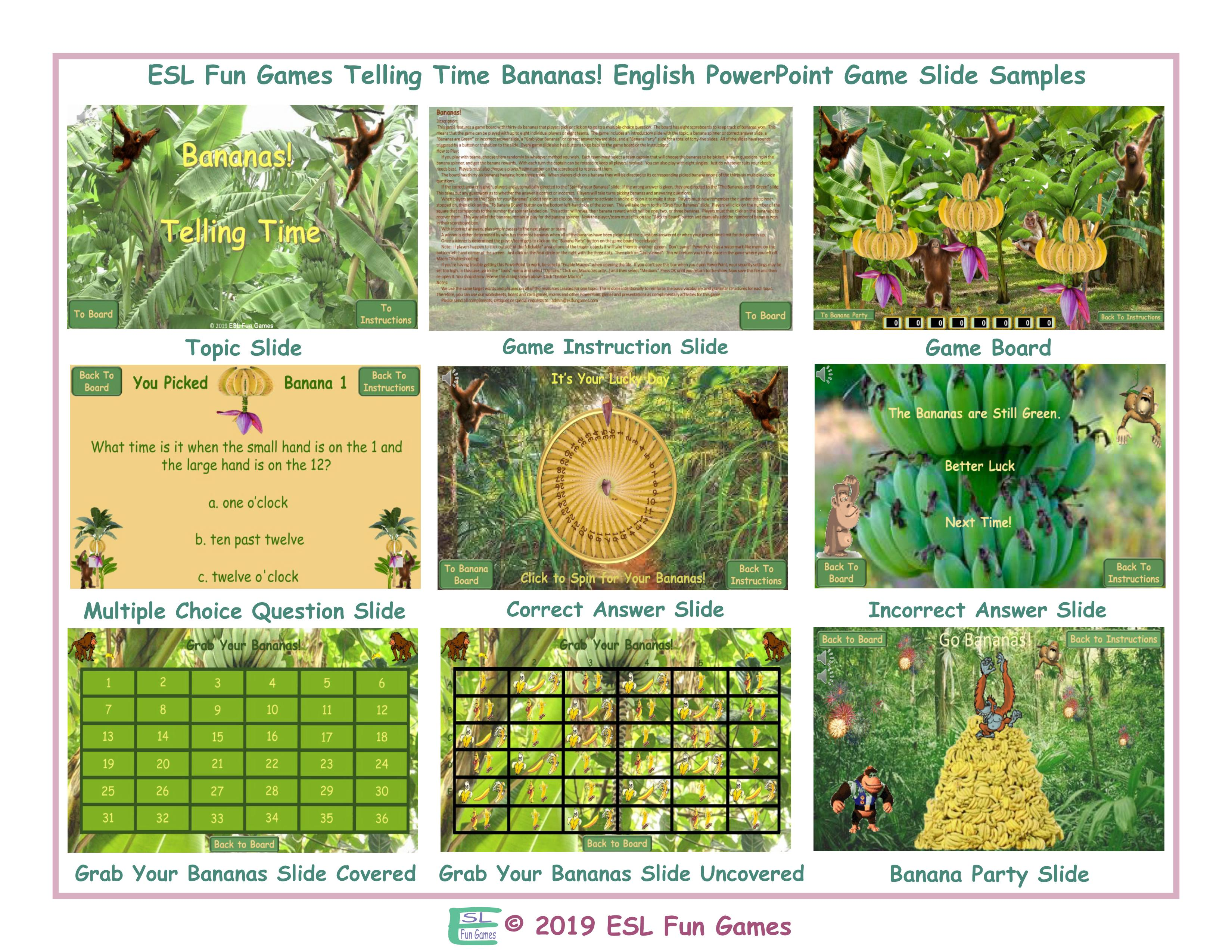 Telling Time Bananas Interactive English PowerPoint Game ...