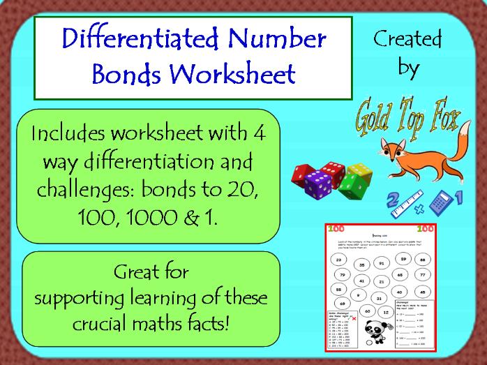 Differentiated Number Bonds Worksheet