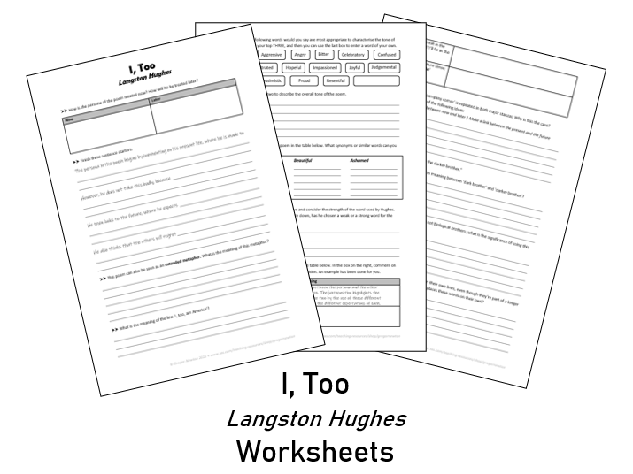 I, Too - Langston Hughes - Worksheets for comprehension and analysis