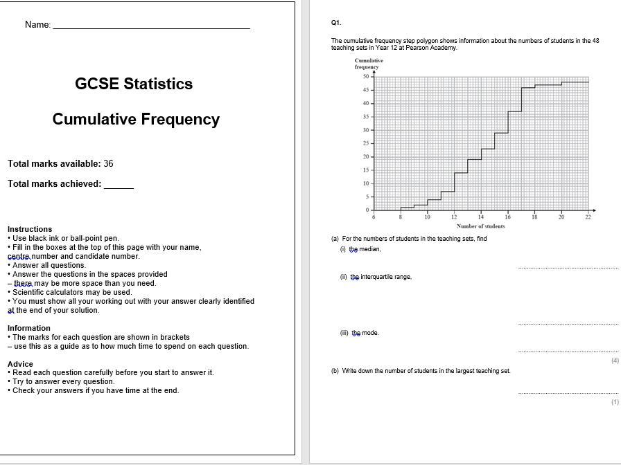 Cumulative Frequency Exam Questions (GCSE Statistics)