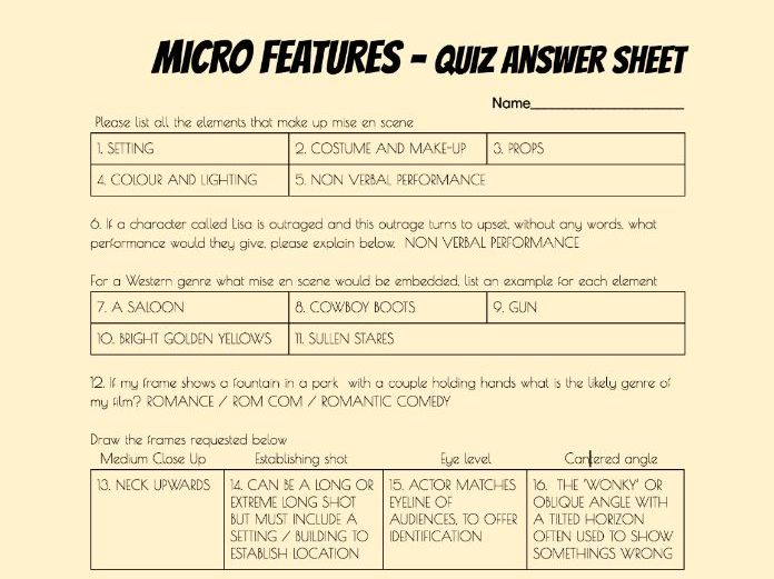 Deconstructing (Film TV Music Video) Moving Image Textual Analysis MICRO FEATURES, 40Q Quiz HANDOUT