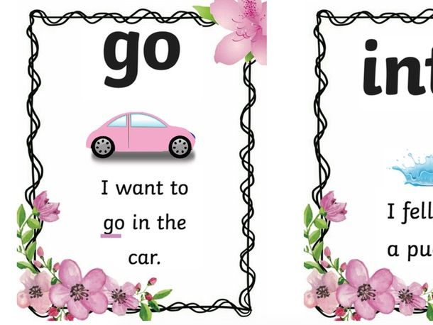 set 1 keyword/tricky word flashcards with sentences