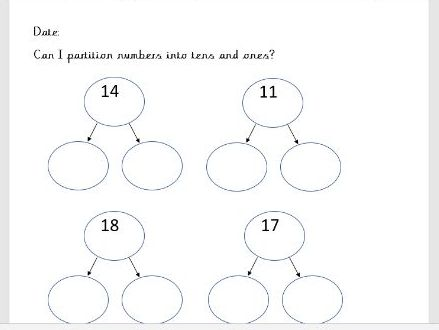 Place Value - Partitioning Year 1 Worksheets
