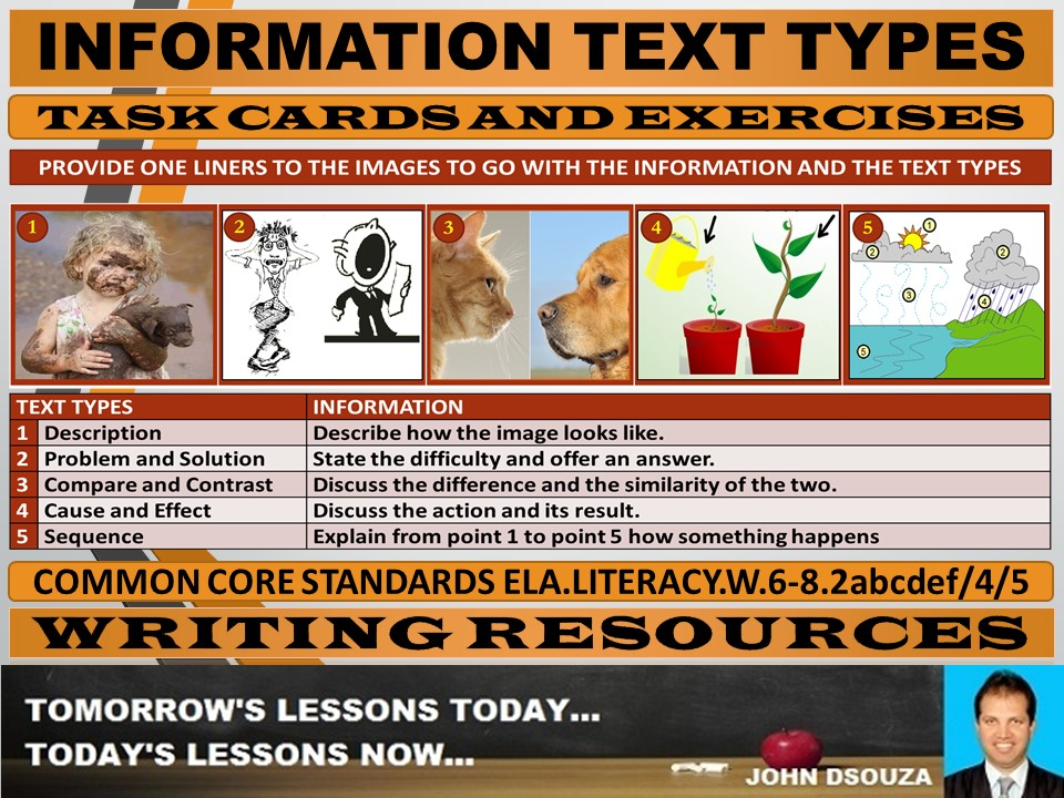 INFORMATION TEXT TYPES TASK CARDS