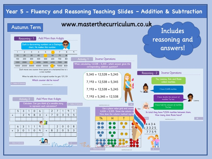 Year 5 - Editable Addition and Subtraction Fluency and Reasoning Teaching Slides - White Rose Style