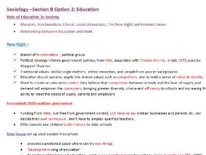 Education Sociology Revision- A-Level OCR