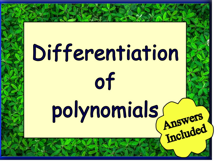 Differentiation of Polynomials - with Answers