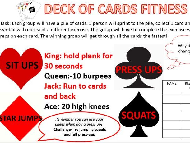Deck of cards fitness