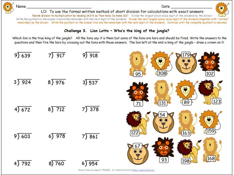 Y4 Y5 Written Formal Short Division Differentiated Worksheets and Activities inc. Missing Digits.