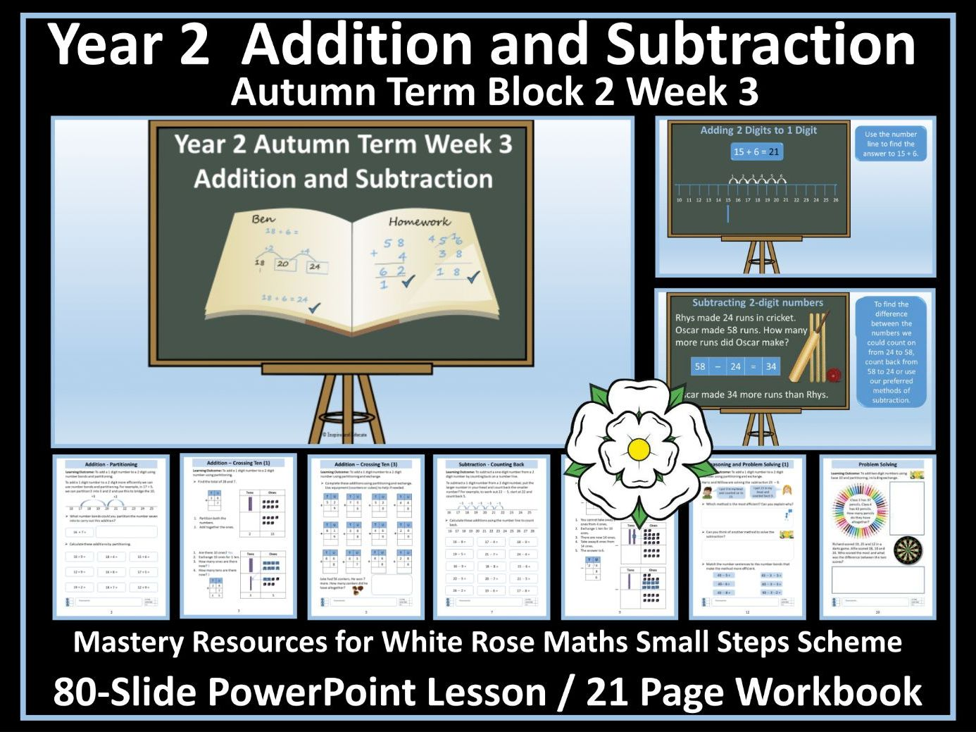 Addition and Subtraction: Year 2 -PowerPoint Lesson and Workbook 3 - White Rose Small Steps - Year 2 - Block 2 - Autumn Term