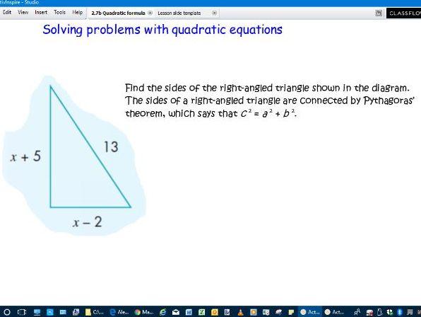 Solving quadratics by using the formula