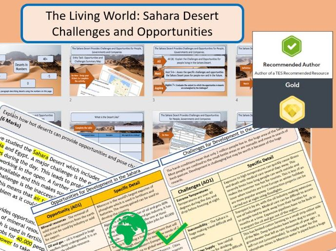 GCSE AQA 9-1 Sahara Desert - Opportunities and Challenges, full lesson and Scaffolded Exam Question.