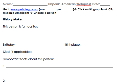 Hispanic American PebbleGo Webquest