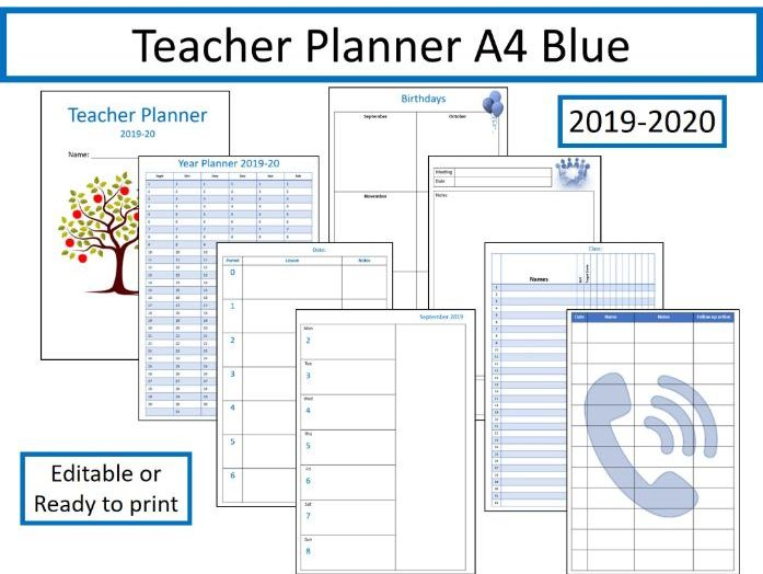 image relating to Printable Teacher Planner named Trainer Planner 2019-2020 absolutely editable A4