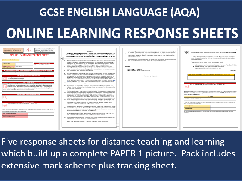 """Online Distance / Home Learning - """"Response Sheets"""" for GCSE English Paper 1"""