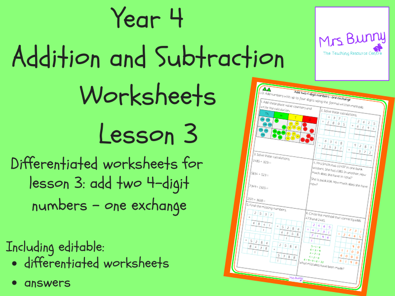 Add two 4-digit numbers - one exchange worksheets (Year 4 Addition and Subtraction)