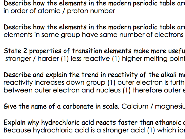 GCSE Chemistry C3 - short model answers to exam style questions, by topic